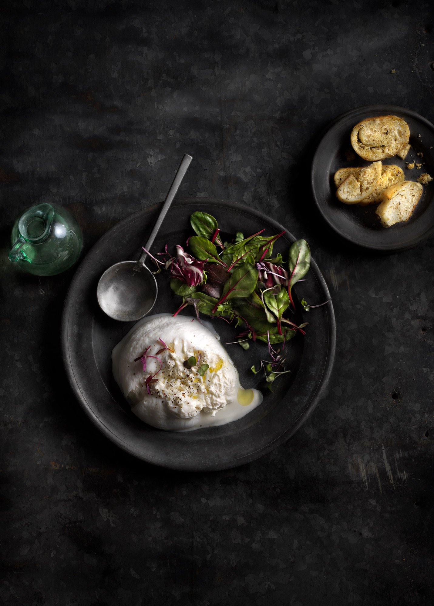 Burrata & Greens Photographed by Boston photographer Scott Goodwin